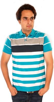 Maggivox Striped Men's Polo Blue, Grey, White T-Shirt