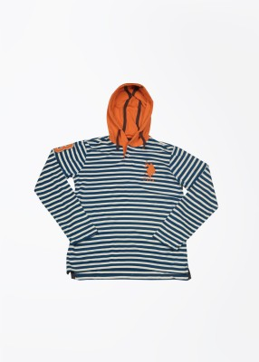 US Polo Striped Boy's Hooded T-Shirt
