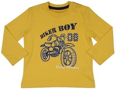 Mom & Me Printed Baby Boy's Round Neck Yellow T-Shirt