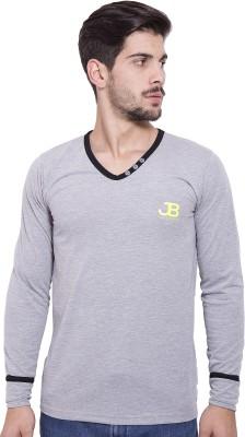 Jangoboy Solid Men's V-neck Grey, Black T-Shirt
