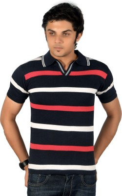 A33 Store Striped Men's Flap Collar Neck Black, Red T-Shirt