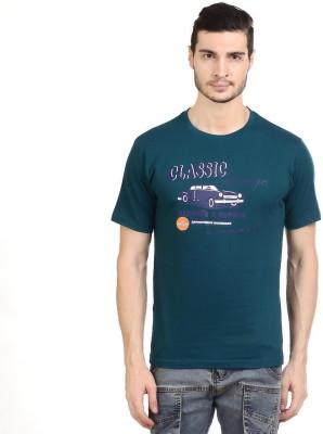 Orange Plum Printed Men's Round Neck Dark Blue T-Shirt