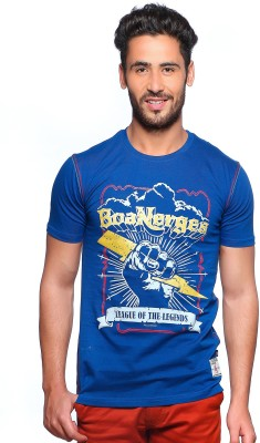 Nucode Graphic Print Men's Round Neck Blue T-Shirt