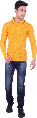 Black Sparrow Printed Men's Polo Neck Orange T-Shirt