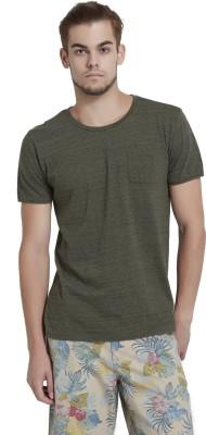 Breakbounce Solid Men's Round Neck Green T-Shirt