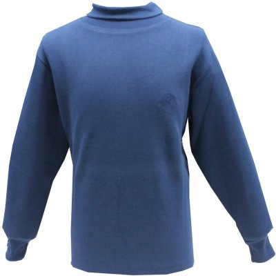 Romano Solid Girl's Turtle Neck Blue T-Shirt