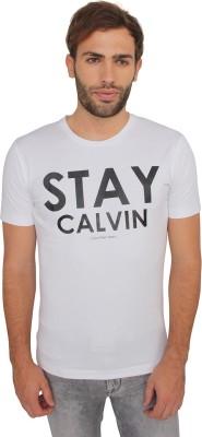 Calvin Klein Printed Men's Round Neck White T-Shirt