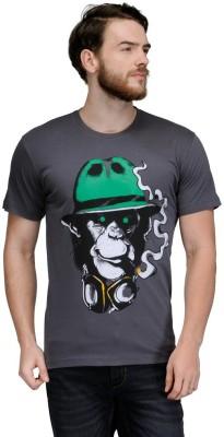 Slingshot Printed Men's Round Neck Grey T-Shirt