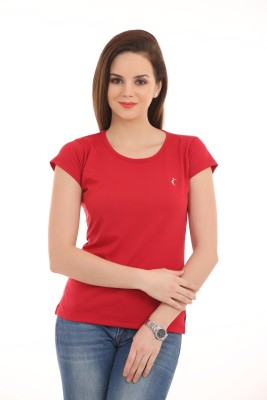 Ultrafit Solid Women's Round Neck Red T-Shirt