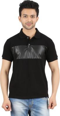 MA Solid Men's Polo Neck Black T-Shirt