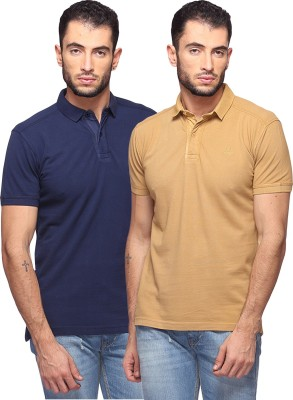 GOAT Solid Men's Polo Neck Dark Blue, Beige T-Shirt