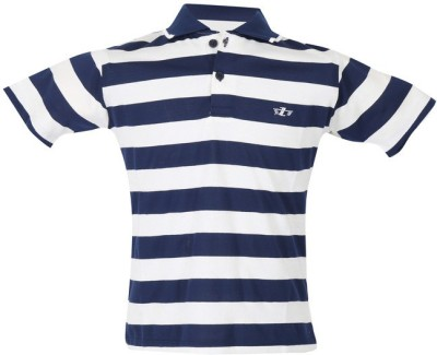 Awack Striped Baby Girl,s Polo Neck Dark Blue T-Shirt