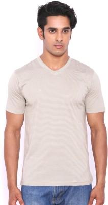 Rat Trap Striped Men's V-neck White, Beige T-Shirt