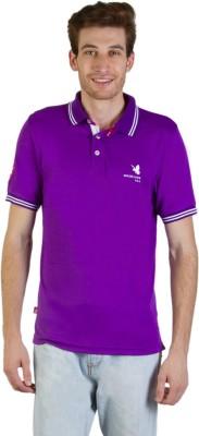 Goodluck Solid Men's Polo Neck Purple, White T-Shirt