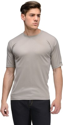 Vicbono Solid Men's Round Neck Grey T-Shirt