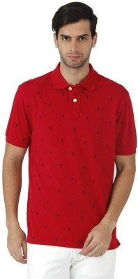 Fahrenheit Printed Men's Polo Neck Red T-Shirt