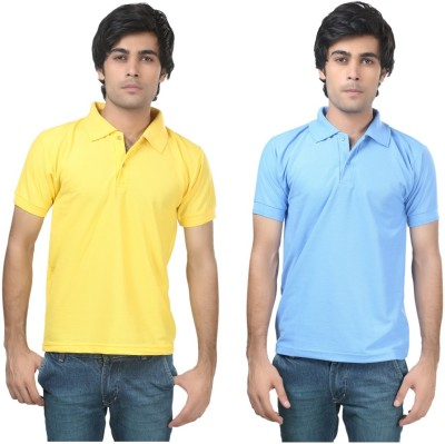 Stylish Trotters Solid Men's Polo Yellow, Light Blue T-Shirt