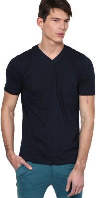 DIZIONARIO Solid Men's V-neck Dark Blue T-Shirt
