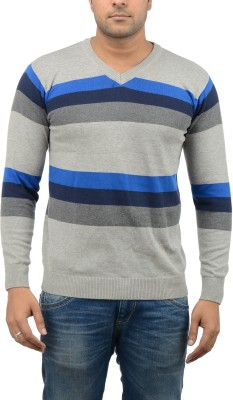 Blue Heaven Striped Men's V-neck Multicolor T-Shirt