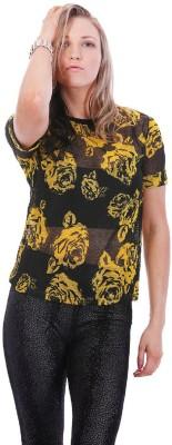 Lioness Floral Print Women's Round Neck Black T-Shirt