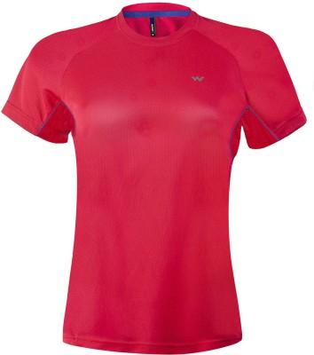 Wildcraft Solid Women's Round Neck Red T-Shirt