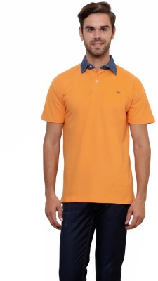 Lemon & Vodka Solid Men's Polo Neck Orange T-Shirt