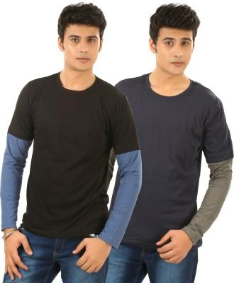 BrownBird Solid Men's Round Neck Blue, Grey T-Shirt
