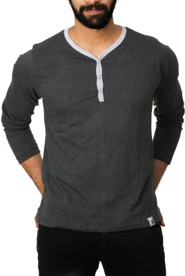 UnKonventional Self Design Men's Henley Grey T-Shirt