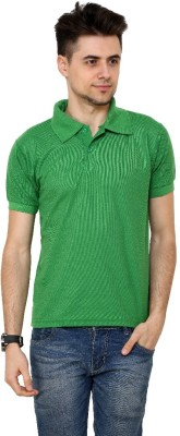 Grand Bear Solid Men's Polo Neck Green T-Shirt