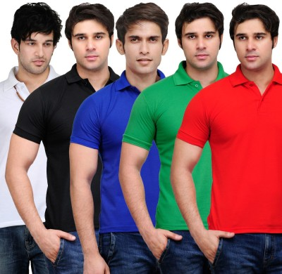 LIFE LIKE Solid Men,s Polo Multicolor T-Shirt