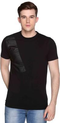 CLUB YORK Self Design Men's Round Neck Black T-Shirt