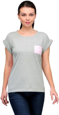 Stilestreet Solid Women's Round Neck Grey T-Shirt