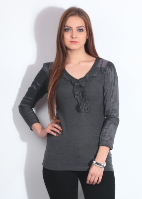 Remanika Solid Women's V-neck T-Shirt