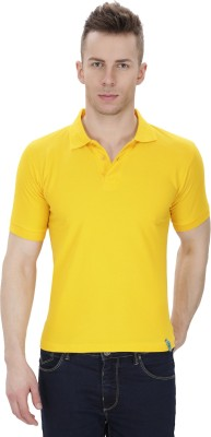 IZOR Solid Men's Polo Neck Yellow T-Shirt