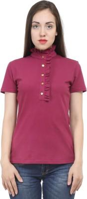 House Of Fett Solid Women's Polo Neck Maroon T-Shirt