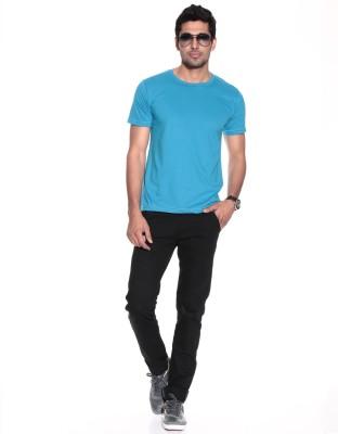 Purys Solid Men,s Round Neck Light Blue T-Shirt
