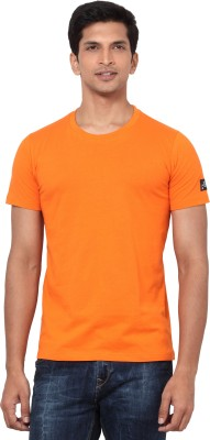 LA Seven Solid Men's Round Neck Orange T-Shirt