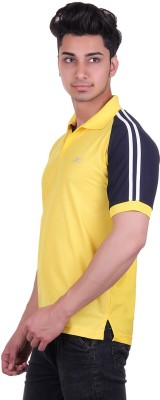 EX10 Solid Men,s Polo Neck Gold T-Shirt