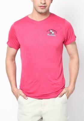 Blacksoul Solid Men's V-neck Red T-Shirt