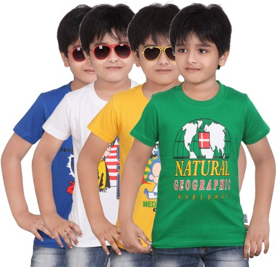 Dongli Printed Boys Round Neck Multicolor T-Shirt