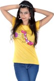 Vivaa Printed Women's Round Neck Yellow ...