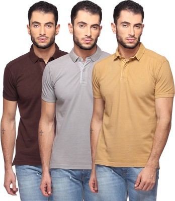 GOAT Solid Men's Polo Neck Brown, Grey, Beige T-Shirt