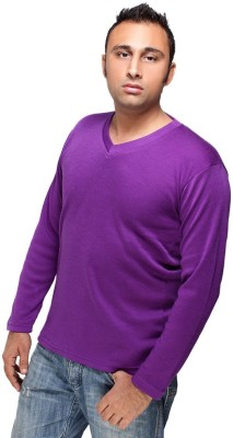 HIRA FASHION WEAR Solid Men's V-neck Purple T-Shirt