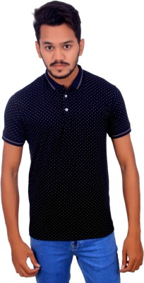 BOMBAY BLUES Printed Men's Polo Neck Dark Blue T-Shirt