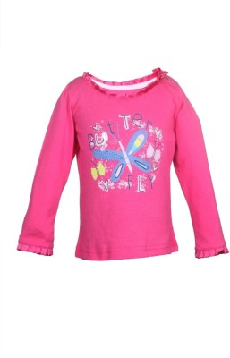 KARROT by Shoppers Stop Printed Baby Girl's Round Neck Pink T-Shirt