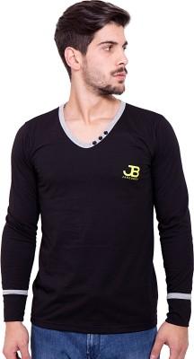 Jangoboy Solid Men's V-neck Black, Grey T-Shirt