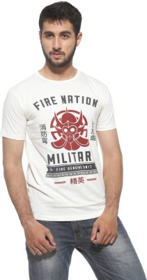 Style-Up.In Printed Men's Round Neck White T-Shirt