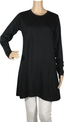Trade Winds Solid Women's Round Neck Black T-Shirt