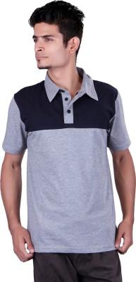 Vivid Bharti Solid Men's Mandarin Collar Grey T-Shirt