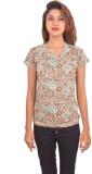 Blueash Floral Print Women's V-neck Gree...